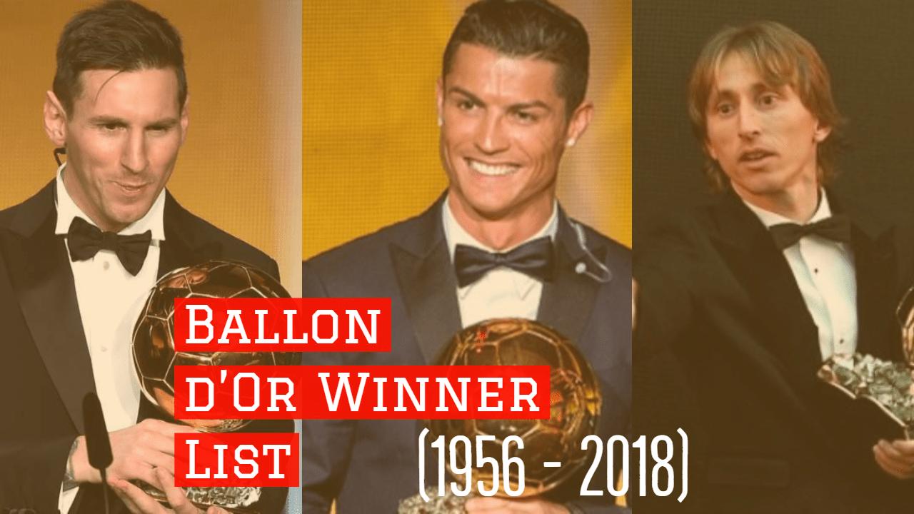 Ballon d'Or Winner List (1956 - 2018) - Ballon d039Or Winner List 1956 2018