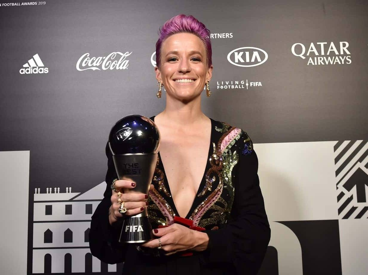 "FIFA Awards ""data-caption ="" Megan Rapinoe wins the 2019 FIFA Best Player Award. ""Data-source ="" @ ussoccer.com"