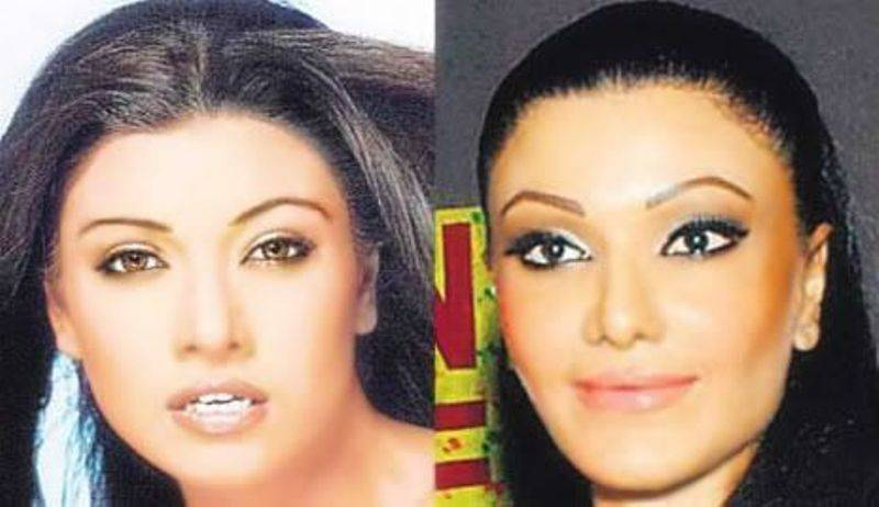 Koena Mitra before and after having a nasal puncture