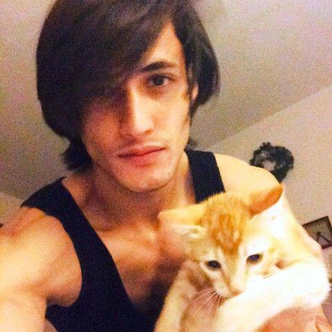Asim Riaz with his pet