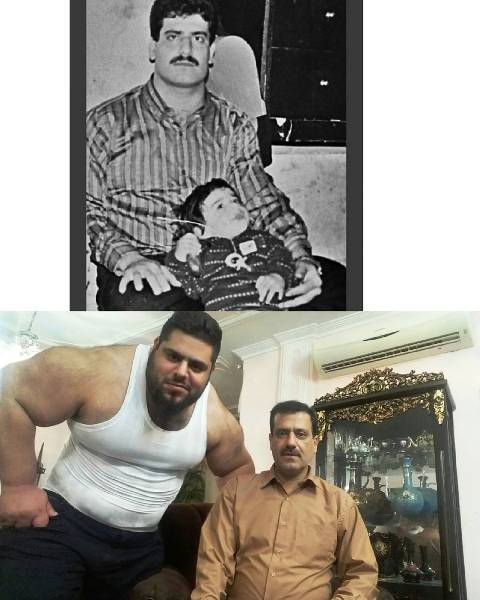 Old and current photos of Sajad Gharibi and his father