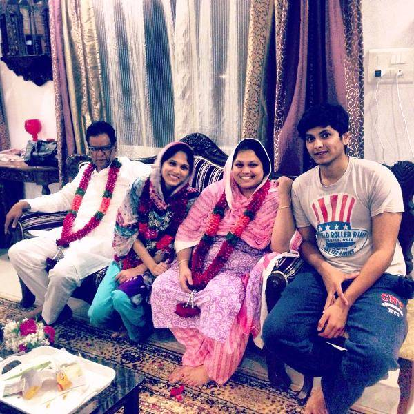 Akbar Rasheed with his parents and sister