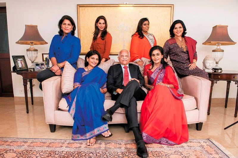 Upasana Kamineni with her grandfather, her mother and her aunts