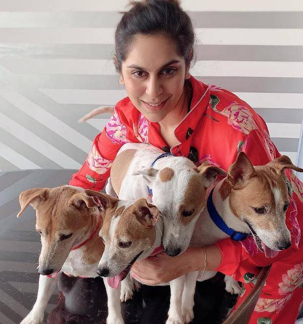 Upasana Kamineni with her dogs
