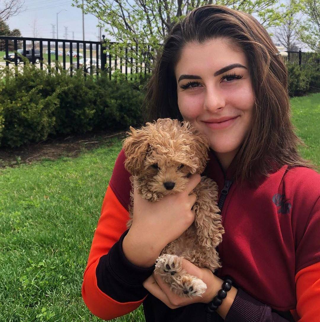 Bianca Andreescu with her dog Coco