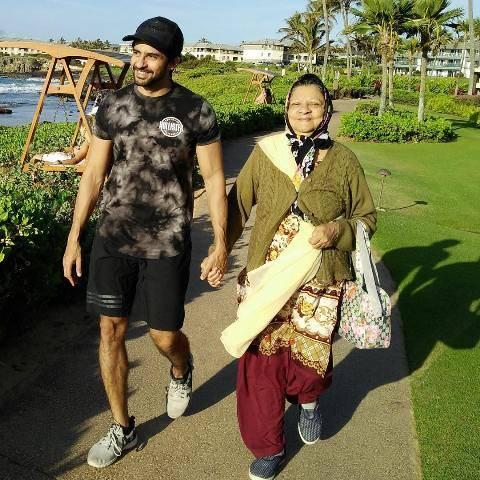 Hussain Kuwajerwala with his mother