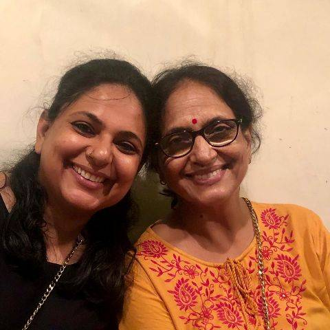 Richa Anirudh with his mother