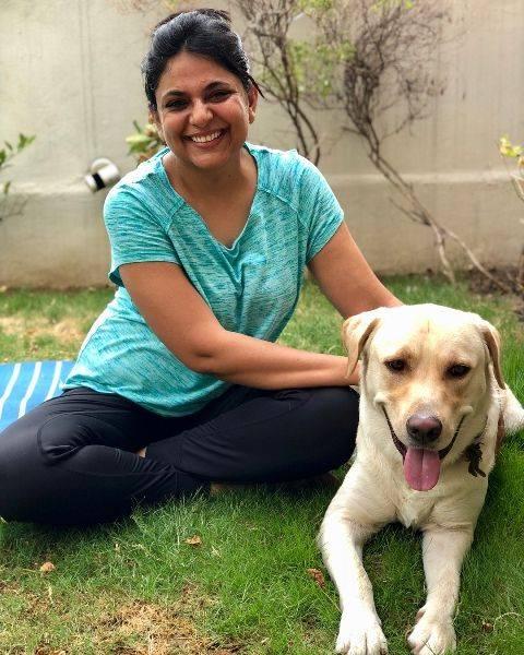 Richa Anirudh with his dog