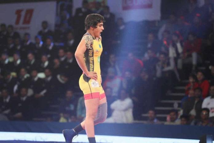 Ritu Phogat at a wrestling match