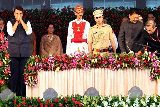 Devendra Fadnavis taking the oath as CM of Maharashtra