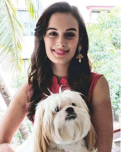Evelyn Sharma with her dog