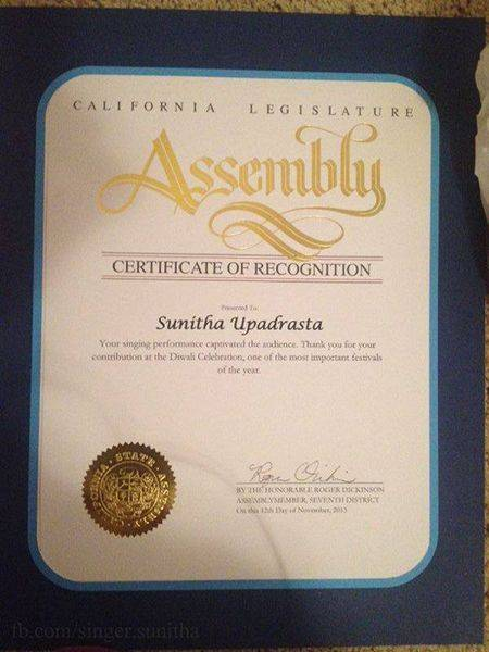 Certificate of recognition of Sunitha Upadrashta by the California Legislative Assembly