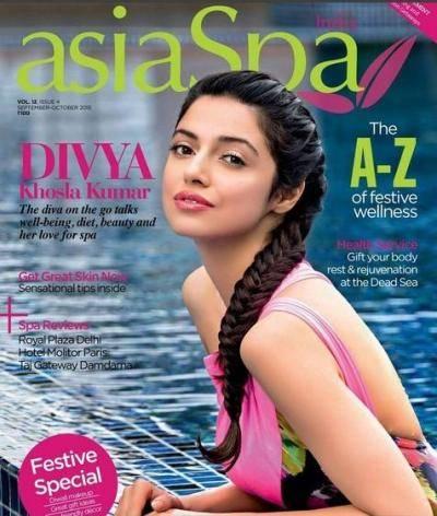 Divya Khosla Kumar on the cover of AsiaSpa magazine