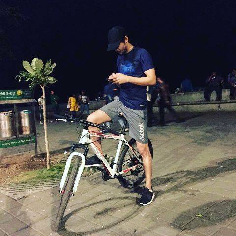 Abhimanyu Tomar on a bicycle