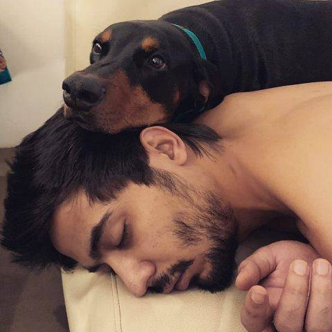Abhimanyu Tomar with his dog Swami