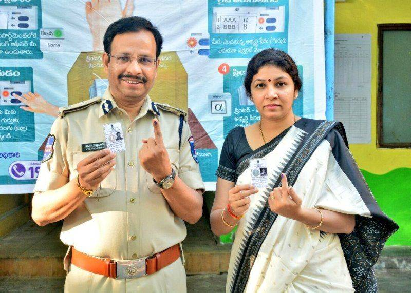 C Sajjanar and his wife Anupa after their votes