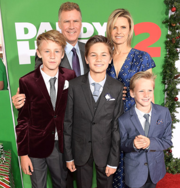Will Ferrell with his wife Viveca Paulin and their children